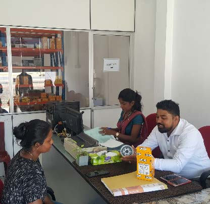 Employees proving customer services at the relocated Spare Parts Outlet in Plonnaruwa
