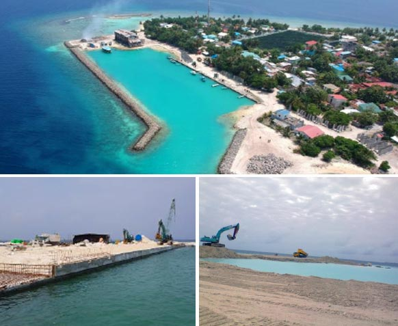 Adh.Mahibadhoo Harbour in the Maldives
